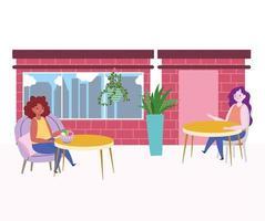 sitzende Frauen drinnen soziale Distanzierung vektor