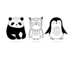 Set von kleinen wilden Tieren im Sketch-Stil