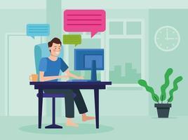 affärsman i möte online i sitt hem