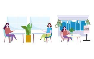 Frauen im Restaurant soziale Distanz Icon Set