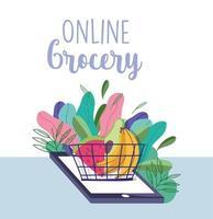 livsmedelsbutik online med telefon och en korg med produkter vektor
