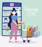 Frau, die eine Gesichtsmaske und Lebensmitteleinkauf trägt