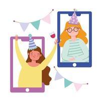 vänner på telefonen som festar online vektor