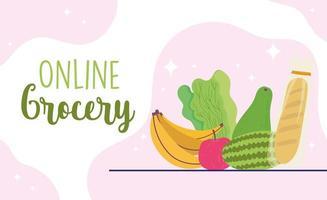 Online-Lebensmitteleinkauf Banner Vorlage mit Produkten