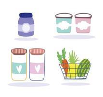 livsmedelsbutik produkter Ikonuppsättning vektor