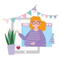 Frau auf dem Tablet, die online feiert