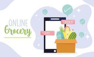 livsmedelsbutik online banner mall med smart telefon och en låda med produkter vektor