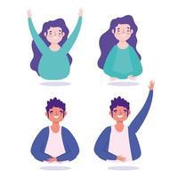 ung man och kvinna karaktärer stående ikonuppsättning