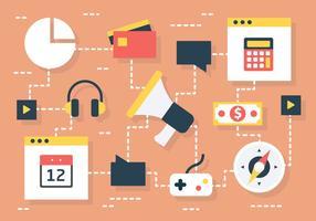 Set von flachen bunten Elektronik Icons