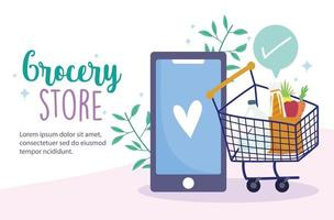 livsmedelsbutik online banner mall med telefon och kundvagn vektor