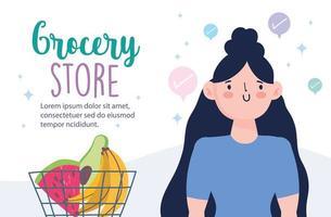 Online-Lebensmittelgeschäft mit Frau und einem Korb Obst Obst Banner Vorlage
