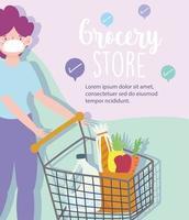Online-Lebensmittelgeschäft mit Frau, die eine Maskenfahnenschablone trägt
