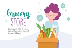 livsmedelsbutik online banner mall med kvinna som bär livsmedel vektor