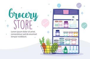 livsmedelsbutik online banner mall vektor