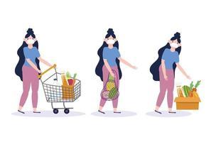 Frau mit langen Haaren, die einen Gesichtsmaskeneinkaufsikonensatz tragen