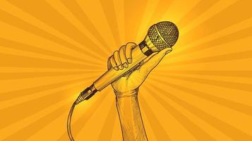 Hand mit gelbem Hintergrund der Mikrofonskizze vektor