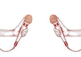 hand med röd skiss vit bakgrund för mikrofon