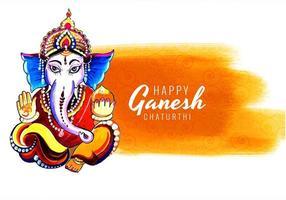 gelbe Farbe waschen Ganesh Chaturthi Karte Hintergrund vektor