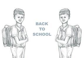 Hand gezeichnetes Skizzenkind mit Schultasche mit Schulanfang