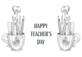 Lassen Sie uns glücklichen Lehrertag Tasse und Bleistift Skizze Design feiern