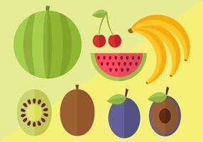 Platt frukt vektor pack