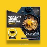kreative minimale gelbe Lebensmittel Social Media Banner für die Werbung