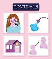 Coronavirus-Infografik mit Mädchen- und Präventionssymbolsatz vektor