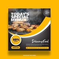 buntes minimales gelbes Nahrungsmittelbanner für Social-Media-Beitrag