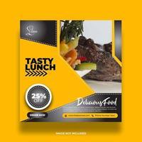 gul restaurangmatbanner för sociala medier