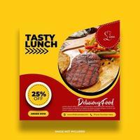 färgrik minimal gul restaurangmatbanner för sociala medier vektor