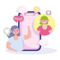 Mädchen mit Sprechblasen, die über das Smartphone interagieren