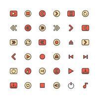 media fylld disposition ikonuppsättning vektor