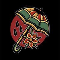 Regenschirm und Blumentattoo