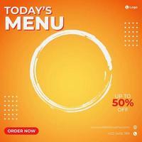 orange lutning och cirkel pensel stroke social media mall