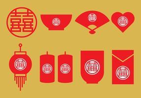 Chinesische Hochzeit Icons vektor
