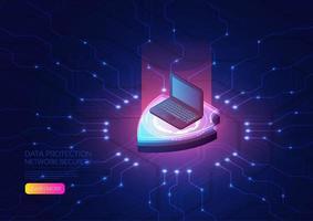 Laptop und Hologramm Schild Datenschutz Design vektor