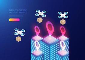 Design der Lieferung von isometrisch leuchtenden Drohnen vektor