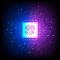 Hologramm-Identitäts-Chip auf blauem und violettem Farbverlauf vektor