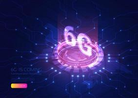 6g Technologie Hologramm und Netzwerkleitungsdesign vektor
