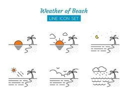 strand väder linje ikon symboluppsättning