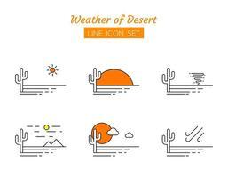 öken väder linje ikon symboluppsättning