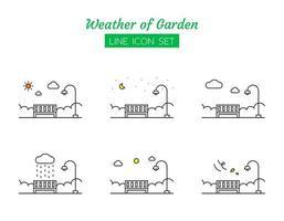 trädgård väder linje ikon symboluppsättning