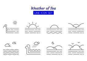 hav väder linje ikon symboluppsättning