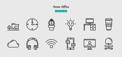 disposition hemmakontors ikon symboluppsättning vektor