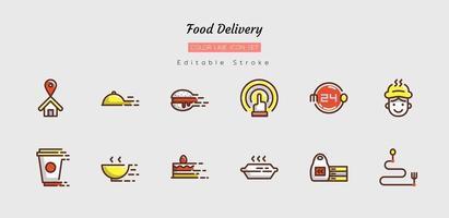 Symbolsatz für die Lieferung von Lebensmitteln mit gefüllter Linie vektor