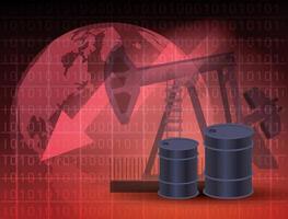 Ölpreismarkt mit Fässern vektor