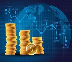 oljeprismarknad med mynt och världsplaneten vektor