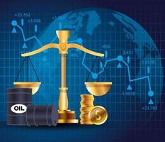 Ölpreismarkt mit Fässern und Gleichgewicht vektor