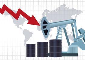 Ölpreismarkt mit Fässern und Weltkarte vektor