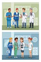 professionelles Arztpersonal in Krankenhauscharakteren vektor